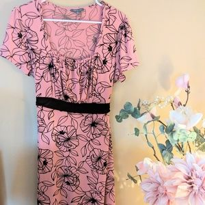 Pink and brown A-line dress